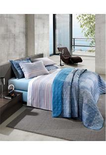 Kit Cobreleito 200 Fios King Dubai - Santista Platinum - Azul