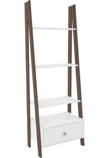 Estante Para Livros 1 Gaveta 3091 Branco/Rústico - Móvel Bento