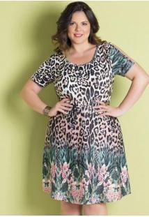 Vestido Mix De Estampas Com Tule Plus Size