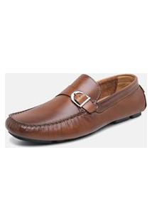 Sapato Drive Mocassim Masculino Torani Confortável Em Couro Marrom Whisky