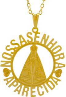 Gargantilha Horus Import Nossa Senhora Aparecida Banhada Ouro Amarelo 18 K - 1060126