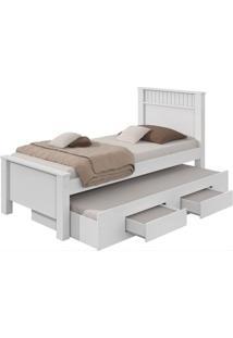 Cama Solteiro Bibox Athenas Branco Com Preto - Móveis Lp