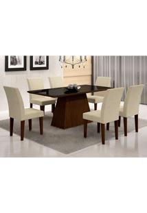 Conjunto De Mesa De Jantar Luna Com Vidro E 6 Cadeiras Grécia Castor Preto Com Matelasse