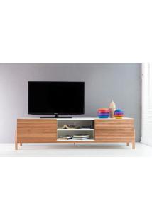 Rack Tv Contemporâneo-Moderno Eric 1800 Mdf Branco Pés Madeira Cor Jatobá 2 Portas De Madeira - 186X43,6X48,5 Cm