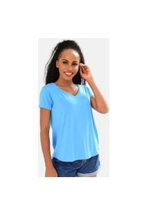 Camiseta Feminina Básica Gola V Ampla Comfy One