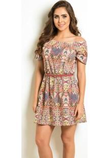 Vestido Floral Amplo Com Elástico No Decote