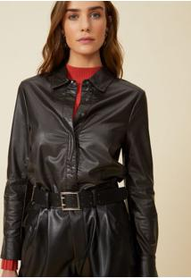 Amaro Feminino Camisa Leather, Preto