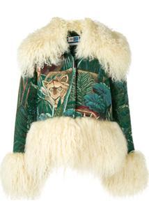 Kenzo Jaqueta Estampada Com Pelo De Cabra - Verde