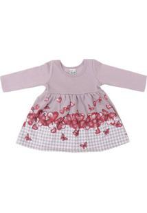 Vestido Infantil Em Moletom De Corações E Borboletas