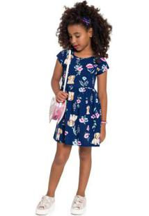Vestido Infantil Azul Escuro