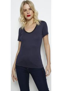 Camiseta Lisa Com Tag- Azul Marinho- Forumforum