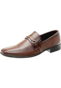 Sapato Social Masculino Quadrado Liso Elástico Clássico - Masculino-Café