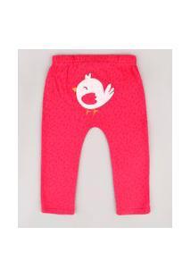 Calça Infantil Passarinho Estampada De Folhagens Rosa Escuro