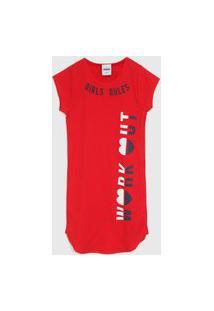 Vestido Rovitex Infantil Lettering Vermelho