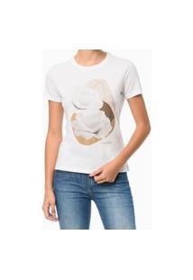 Camiseta Estampa Localizada Floral Branca Calvin Klein Branco