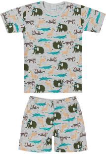 Pijama Cinza Animais Silvestres