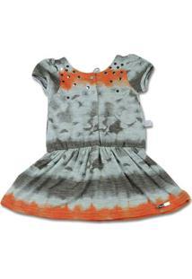 Vestido Infantil Malha Flamê Reciclato Estampado - Laranja 2