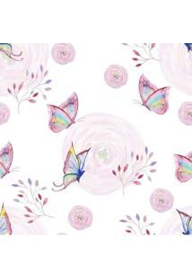 Papel De Parede Adesivo Borboleta Rosa (0,58M X 2,50M)