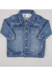 Jaqueta Jeans Infantil Em Moletom Puídos Azul Claro