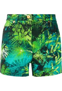 Versace Short Jeans Com Estampa De Selva - Verde