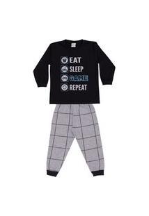Pijama Longo Infantil Brilha No Escuro Game Dadomile-8