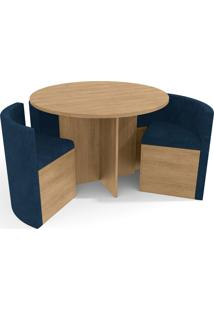 Conjunto Mesa Nirá C/ 4 Cadeiras Freijó/Azul Kappesberg - Tricae