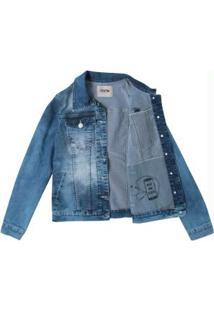 Jaqueta Azul Escuro Jeans Slim