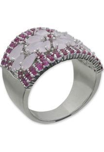 Anel Flor Cravejado Com Zircônias Rosa E Pink E Banho Em Prata
