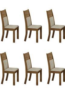 Conjunto Com 6 Cadeiras Havaí Ipê E Metalacê