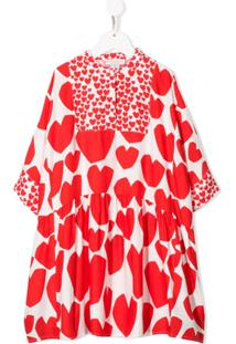 Stella Mccartney Kids Vestido Kimono Com Coração - Vermelho