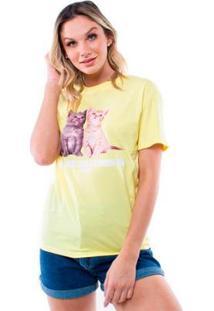 Camiseta Manga Curta Gatinhos Pop Me Feminino - Feminino-Amarelo