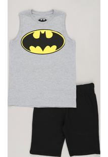 Conjunto Infantil Batman De Regata Gola Careca Cinza Mescla + Bermuda Em  Moletom Preta 02e500c44526d
