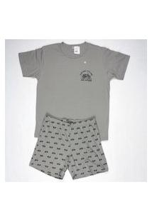 Pijama Curto Masculino 100% Algodáo Gola U Brezzi Estampa Bike Cor Cinza