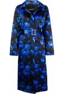 Richard Quinn Casaco Com Estampa Floral E Cinto - Azul