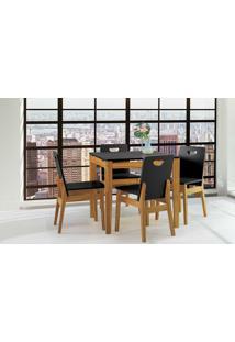 Mesa Com Cadeiras Tucupi 80Cm - Acabamento Stain Nozes E Laca Preto