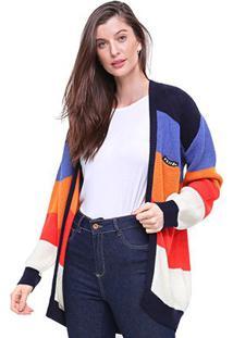 Casaco Volcom Tricô Listrado Fuzz Buster - Feminino-Colorido