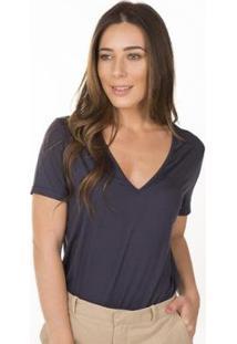 Camiseta Cora Básico Decote V Ampla Modal Feminina - Feminino-Marinho