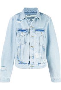 Off-White Jaqueta Jeans Com Bordado - Azul