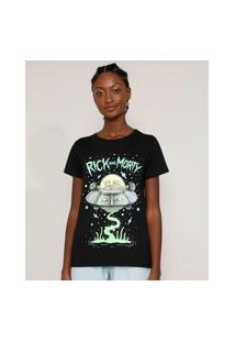 Camiseta Feminina Manga Curta Rick And Morty Decote Redondo Preta