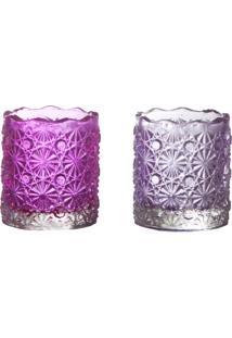 Castiçal De Vidro Com 2 Peças Flower Rosa E Lilás 5,5X5Cm