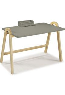 Mesa Escrivaninha Com Porta Objetos Ringo 1031 Natural/Cinza - Maxima