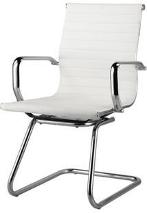 Cadeira Sevilha Eames Fixa Cromada Pu Branco - 38229 - Sun House