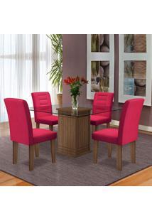 Conjunto De Mesa 1,10 M Com 4 Cadeiras Vegas Dobuê Castanho Vinho
