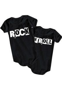 Body Bebê Criativa Urbana Irmãos Gêmeos Rock N' Roll Preto