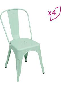 Jogo De Cadeiras De Jantar Retrã´- Verde ÁGua- 4Pã§S
