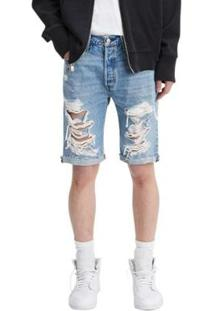 Bermuda Jeans Levis 501 Original Cut Off - Masculino - Masculino-Azul