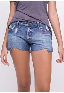 Short Jeans Barra Irregular E Bordado