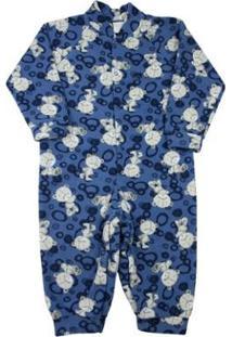 Macacão Pijama Ano Zero Infantil Estampado Bichos Masculino - Masculino-Azul