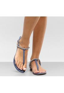 Rasteira Dumond Salomé Tira De Pedras - Feminino-Jeans