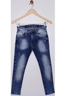 Calça Jeans Com Puídos Juvenil Para Menino - Azul